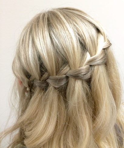 "my ""braid bar"" waterfall braid - I loved it!"